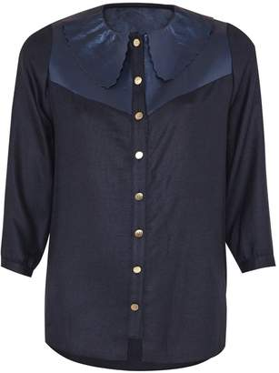 Manley Mia Silk Shirt With Leather Collar Navy