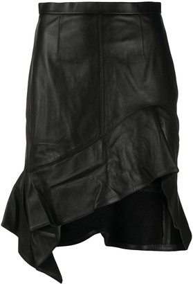 Alexander Wang Leather Ruche Asymmetric Hem Skirt
