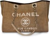 Chanel Beige Canvas Deauville MM Bag