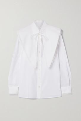 Tory Burch Convertible Cotton-poplin Shirt - White