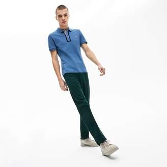 Lacoste Men's Slim Fit Checkered-Placket Stretch Cotton Pique Polo