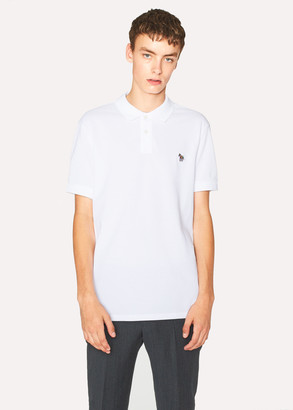 Men's White Organic Cotton-Pique Zebra Logo Polo Shirt