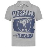 Moschino MoschinoBoys Grey Milano Print Polo Top