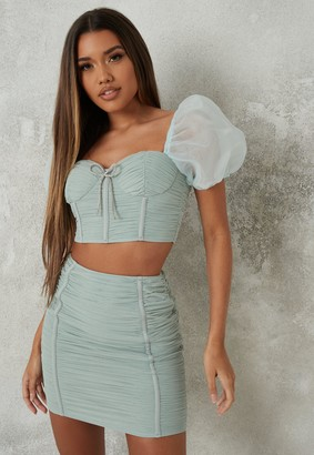 Missguided Mint Co Ord Mesh Ruched Front Mini Skirt