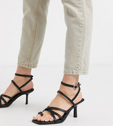 Asos Design DESIGN Wide Fit Whittle toe loop mid-heeled sandals in black
