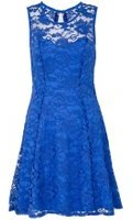 Dorothy Perkins Womens *Quiz Blue Petite Lace Skater Dress- Blue