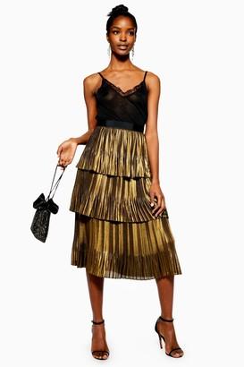 Topshop Womens Gold Metallic Tiered Midi Skirt - Gold