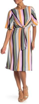 Vanity Room Stripe Knit Tie Waist Midi Dress