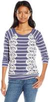 Jolt Women's Stripe Navy French Terry with Size Lace Insets