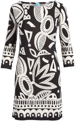 Modern Touch Women's Casual Dresses BLACKWHITE - Black & White Floral Three-Quarter Sleeve Shift Dress - Women