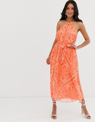 Lipsy halter neck pleated swing dress in orange multi
