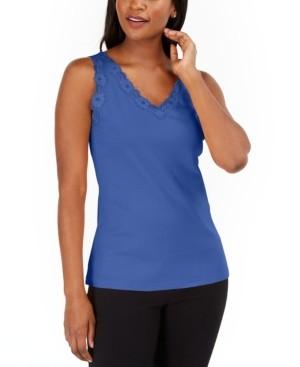 Karen Scott Petite Cotton Lace-Trim Tank Top, Created for Macy's