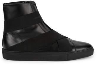John Galliano Slip-On Leather High-Top Sneakers