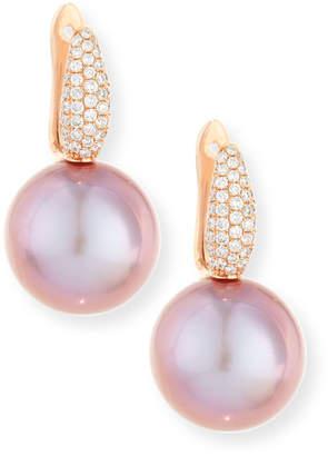 BELPEARL Pavé Diamond & Kasumiga Pink Pearl Drop Earrings in 18K Rose Gold