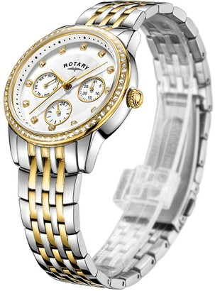 Rotary EXCLUSIVE Silver and Gold Sunray Swarovski Crystal Multi Dial Two Tone Stainless Steel Bracelet Ladies Watch