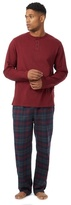 Maine New England Big And Tall Dark Red Checked Loungewear Set