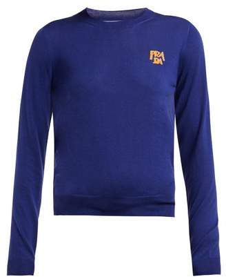 Prada Logo Intarsia Wool Sweater - Womens - Blue Multi