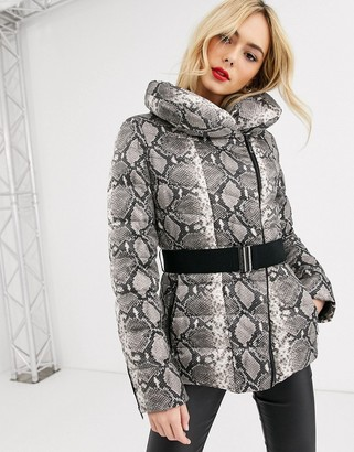 Morgan snake padded jacket with roll neck and belt in snake