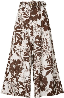 Nicholas Floral Print Pleated Trousers