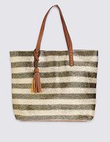 M&S Collection Metallic Stripe Shopper Bag