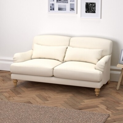 The White Company Petersham 2 Seater Sofa Cotton, Pearl Cotton, One Size