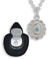 DM D&M Western Crystal CONCH w/ AQUA FLOWER NECKLACE in Cowboy Hat Gift Box