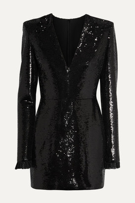 Philosophy di Lorenzo Serafini Lace-trimmed Sequined Crepe Mini Dress - Black