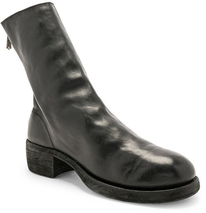 Guidi Leather Horse Zip Back Boots in Black | FWRD