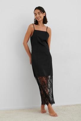 NA-KD Lace Detail Satin Slip Dress