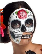 Party King Women's Day of The Dead 3/4 Costume Accessory Mask, Black/White