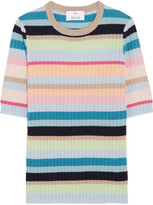 Allude Ribbed Striped Cashmere Top - Sky blue