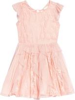BCBGMAXAZRIA Girls Crepe Lace Fit & Flare Dress