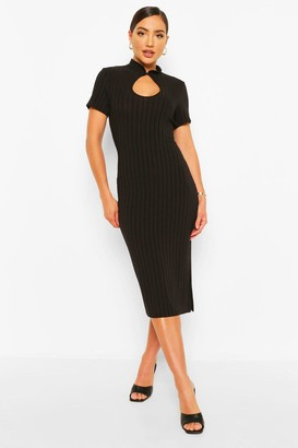 boohoo Recycled Plus Mandarin Collar Midi Dress