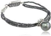 """King Baby Studio 3 Strand Hematite Crowned Tahitian Pearl Bracelet, 7.5"""""""