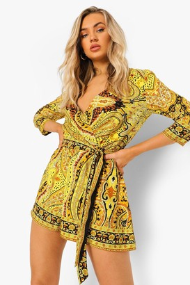 boohoo Scarf Print Wrap Front Belted Playsuit