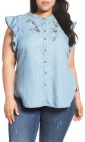 Melissa McCarthy Plus Size Women's Embroidered Flutter Sleeve Top