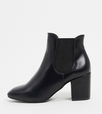 Simply Be heeled chelsea boots in black