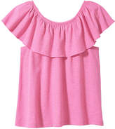Joe Fresh Kid Girls' Ruffle Top, Light Neon Pink (Size XL)