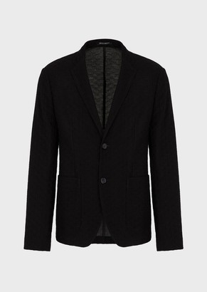 Emporio Armani Single-Breasted Jacket In Ultra-Light Wool Blend Jersey