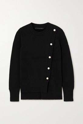 Mother of Pearl + Net Sustain Nora Asymmetric Organic Cotton-blend Cardigan - Black