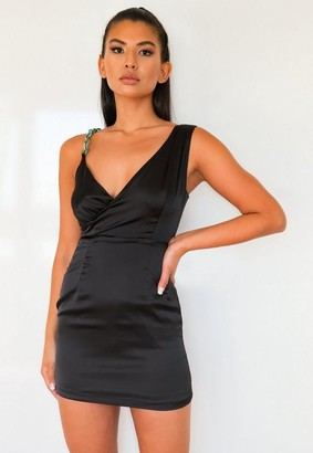 Missguided Petite Black Chain Strap Satin Wrap Mini Dress
