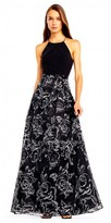 Aidan Mattox Floral Embroidered Halter A-line Evening Dress