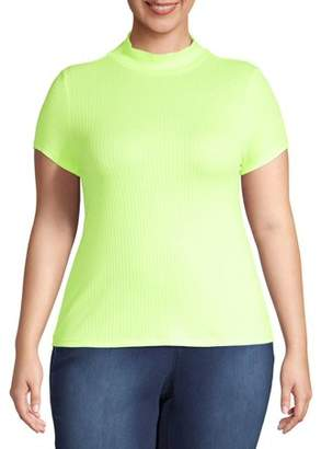 Eye Candy Juniors' Plus Size Ribbed Mock Neck Short Sleeve Top