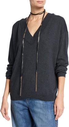 Brunello Cucinelli Cashmere V-Neck Sweater with Monili Necklace