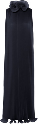 Tibi Pleated Ruffled Plisse Midi Dress