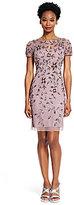 Adrianna Papell Petite Short-Sleeve Beaded Dress