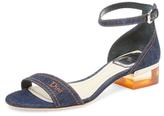 Christian Dior Denim Block Heel Sandal