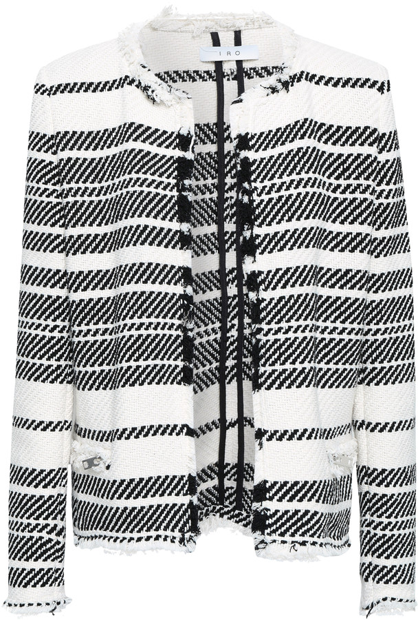 IRO Zlata Frayed Striped Cotton-blend Tweed Jacket