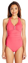Calvin Klein Women's Bar Halter One-Piece Swimsuit with Removable Soft Cups