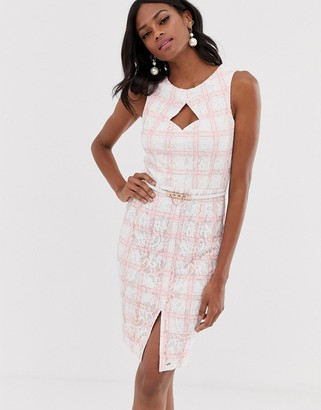 Paper Dolls midi pencil dress with belt in pink check